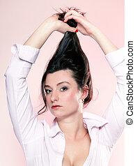 portrait of attractive woman brunette
