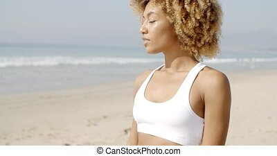 Portrait Of Attractive Woman On The Beach.