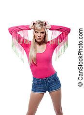 Portrait of attractive woman posing in sports wear