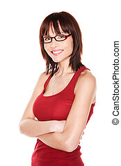 Portrait of attractive woman with glasses