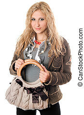 Portrait of attractive young blonde with a handbag
