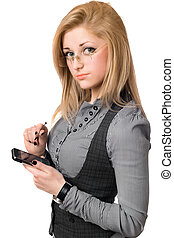 Portrait of attractive young blonde with smartphone