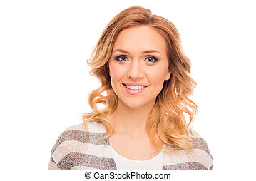 Portrait of attractive young smiling woman on white background