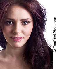 Portrait of attractive young woman closeup isolated