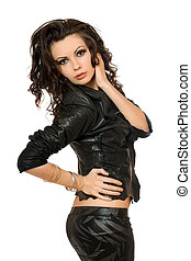 Portrait of attractive young woman in black clothes. Isolated