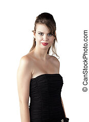 attractive young woman wearing black dress