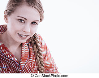 Portrait of attractive young woman wearing cute pajamas