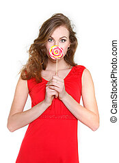 portrait of attractive young woman with big lollipop over white