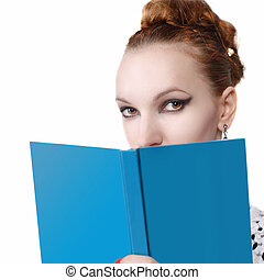 portrait of attractive young woman with blue book