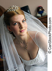 Portrait of auburn haired bride