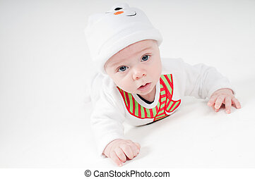 Portrait of baby in snowman costume