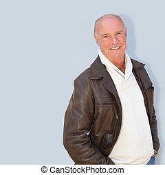 Portrait of bald senior man