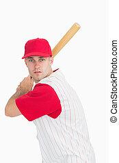 Portrait of baseball batter in batting stance