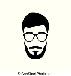 Portrait of bearded man. Hipster style.
