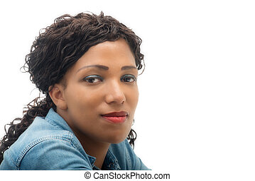 beautiful African American young woman on white background