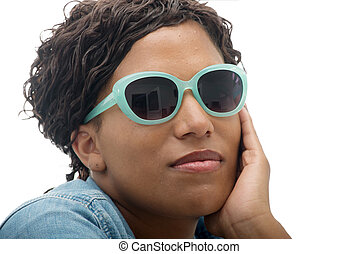 beautiful African American  young woman with sunglasses