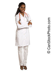 Portrait of beautiful African Brazilian doctor or nurse with arms crossed isolated over white background