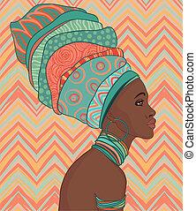 Portrait of beautiful African woman in turban - Portrait of...