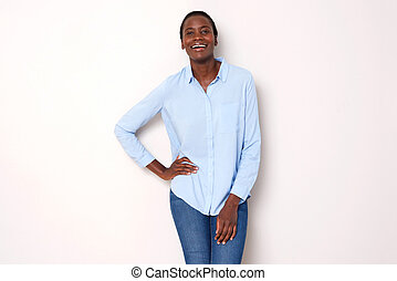 beautiful african woman posing on white background