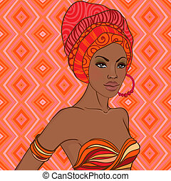 Portrait of beautiful African woman with earring - Portrait...