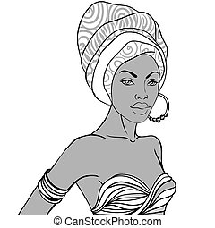 Portrait of beautiful African woman in turban with earring