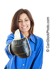 casual woman wearing boxing gloves