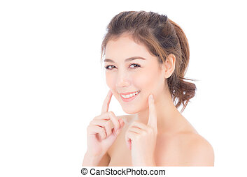 Portrait of beautiful asian woman makeup of cosmetic, girl hand touch cheek and smile attractive, face of woman beauty perfect with wellness isolated on white background with skin healthcare concept.