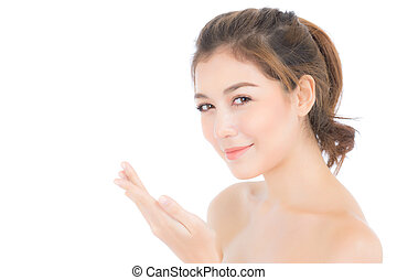 Portrait of beautiful asian woman makeup of cosmetic, girl smell hand  and smile attractive, face of beauty perfect with wellness isolated on white background with skin healthcare concept.