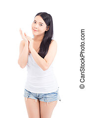 Portrait of beautiful asian woman makeup of cosmetic, girl touch hand smile attractive, face of beauty perfect with wellness isolated on white background with skin healthcare concept.