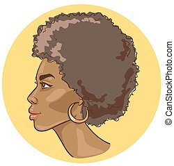 Portrait of beautiful black woman. Vector sketch