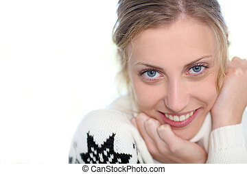 Portrait of beautiful blond girl on white background