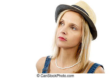 beautiful blond woman  posing with summer hat