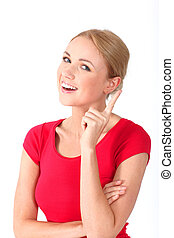 Portrait of beautiful blond woman with interrogative look