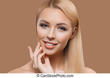 portrait of beautiful blonde long hair girl