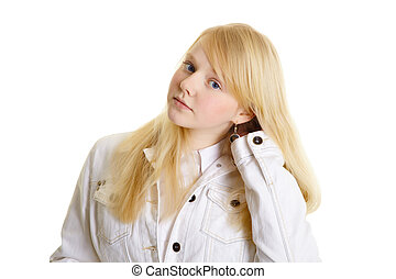 Portrait of beautiful blonde on white background
