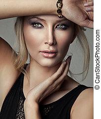 Portrait of beautiful blonde woman