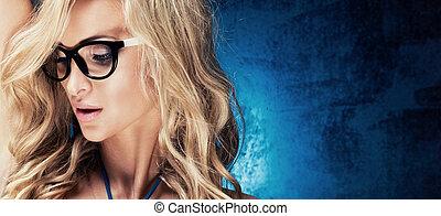 Portrait of beautiful blonde woman.