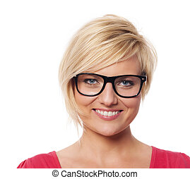 Portrait of beautiful blonde woman with glasses