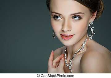 Portrait of beautiful bride.  Wedding decoration