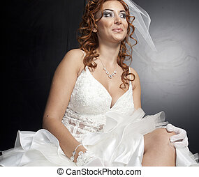 Portrait of beautiful bride. Wedding dress
