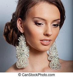 Portrait of beautiful bride. Wedding dress. Young Gentle Quiet Bride
