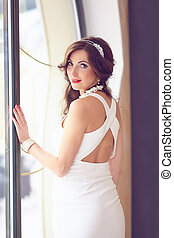 portrait of beautiful bride. wedding dress and hairstyle