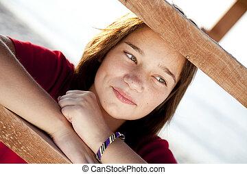 Portrait of beautiful brunet girl