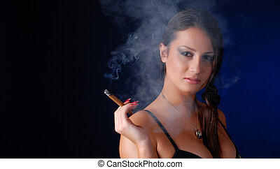 woman with cigar