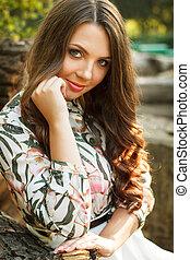 Portrait of beautiful brunette girl