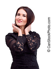 Portrait of beautiful brunette in black dress, isolated on white