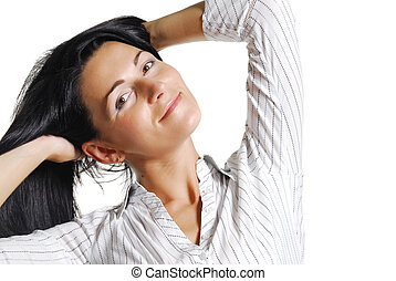 Portrait of beautiful brunette mid adult woman