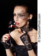 sommelier - portrait of beautiful brunette woman sommelier ...