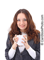 Portrait of beautiful business woman holding coffee cup
