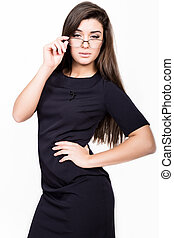 Portrait of beautiful business woman in blue dress wearing glasses